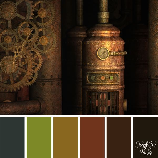 The Steampunk color palette and colors   for your room decor