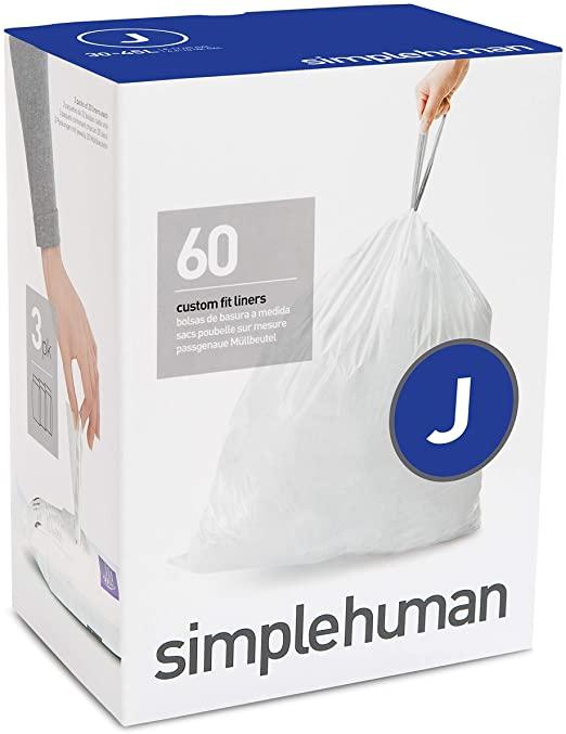 Amazon.com: simplehuman Code J Custom Fit Drawstring Trash Bags 30 .