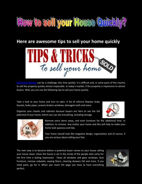 Here are awesome tips to sell your home quick