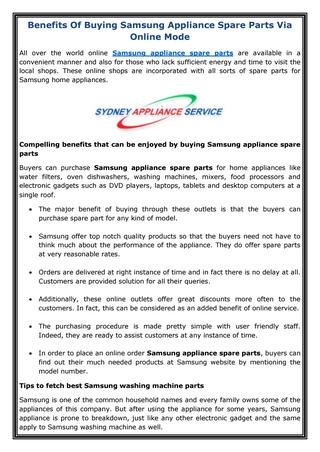 Benefits of buying samsung appliance spare parts via online mode .