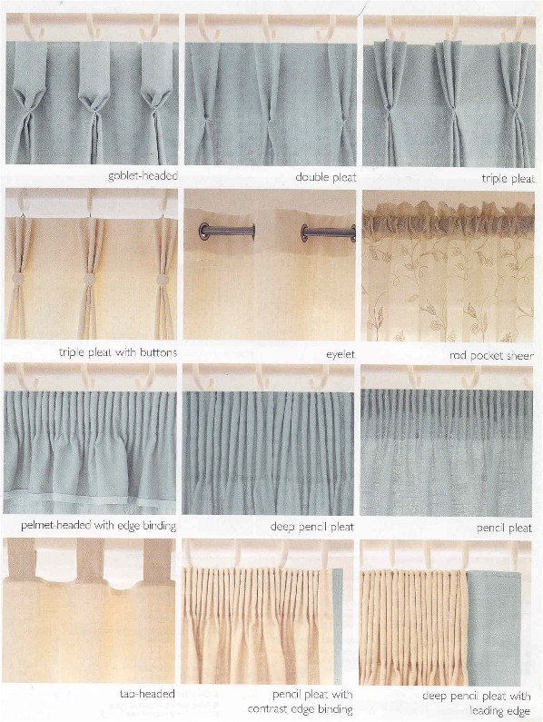 Different types of pleats that can be used to dress your window .