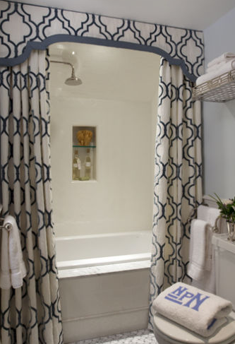 I love this look! Shower curtains on both sides to create a .