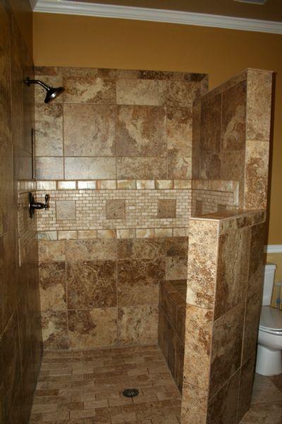 doorless walk in shower ideas - Google Search | Bathroom remodel .
