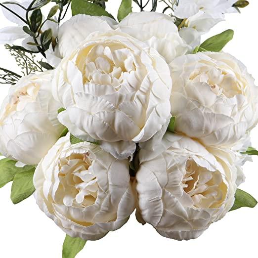 Amazon.com: Leagel Fake Flowers Vintage Artificial Peony Silk .