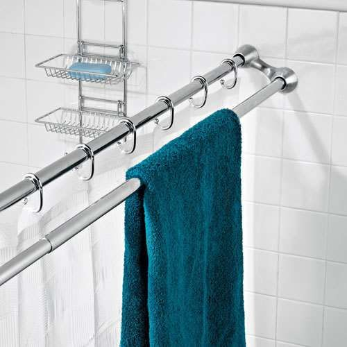 Double shower curtain rod to hang wet towels. Great ideas for .