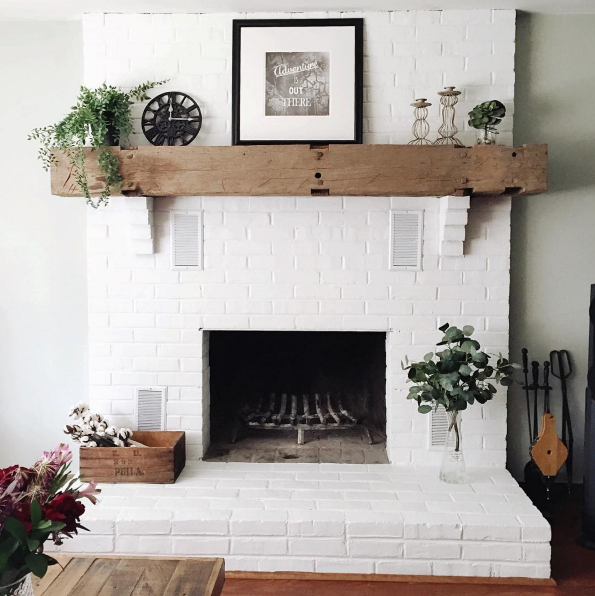 White brick fireplace ideas for your   living room decor